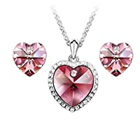 Swarovski Elements 18K White Gold Plated Jewelry Set Encrusted With Fuchsia Swarovski Crystals and Matching Earrings, SWR-418