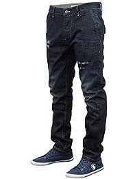 Hommes Jeans Brave Soul Coupe Slim Skinny Pantalon Rip Roulé Pantalon