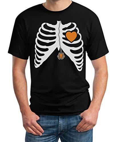 Holloween Geister Kostüm - Halloween Kostüm Skelett Herren Shirt mit Spinne und Herz Herren T-Shirt X-Large Schwarz