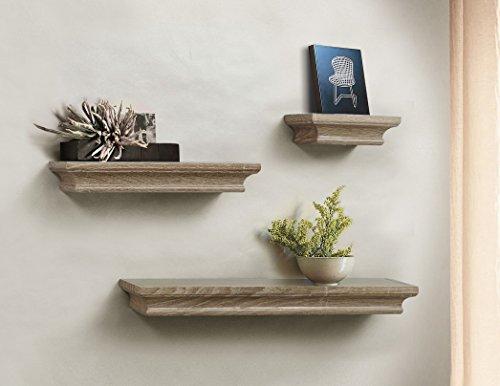 Ahdecor mensole galleggianti decorative mensole a muro in legno set da 3 pezzi, grige