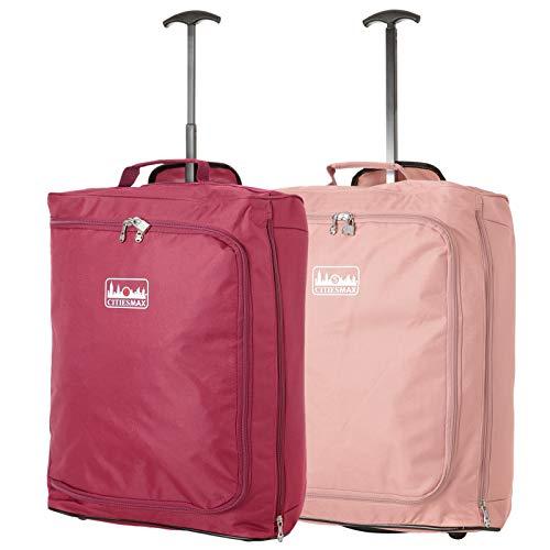 55x40x20cm Ryanair 42L Maximal-Größe Kabine Handgepäck kabinenzugelassene Koffer Trolley Tasche (Wein + Rosegold)