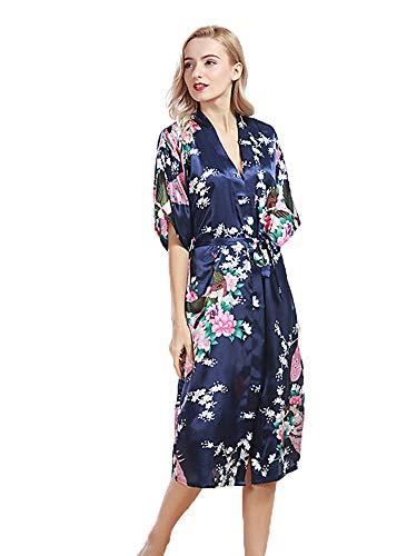 HAINE Sommer Morgenmäntel Frauen Satin Kimono Roben Bräute Druck Pfau Damen Nachtwäsche Plus Size Lingerie Robe (Marineblau, Label ()