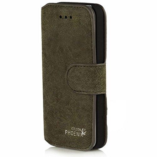Golden Phoenix KLASSIK Hülle für Apple iPhone SE - 5 - 5S mit Geldfach oder Kartenschlitze - Cover Tasche in Braun Khaki