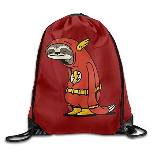 KAKALINQ Funny Sloth Shirt The Flash Drawstring Backpack Sack Bag Rucksack Kids Adults Shoulder Bags for Gym Traveling