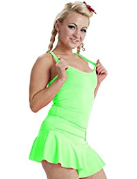 77a4b31800 Crazy Chick New Women Ladies Microfiber Casual Neon Vest Top Stretchy Lycra  Racer Tops Fancy Dress