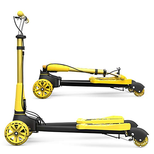 ZHIJINLI Scooter Children's Frog Four-Wheeled Scissors Car 3 years Old - 12 years Old Twisted Car Foldable Lemon Yellow