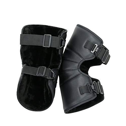 Flyinghedwig Ginocchiere caldo cuscinetti termici invernali moto Electrombile ginocchio guardia di nero PU