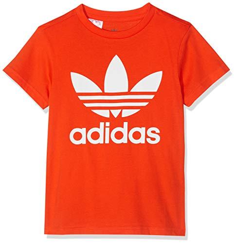 Adidas trefoil tee, maglietta unisex bambini, active arancio/bianco, 13-14a