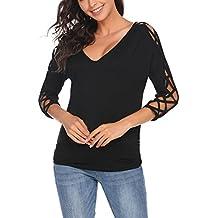Meaneor Mujer Camiseta Manga Larga Camisas y Blusas Cuello en V 3/4 Hueco Fuera