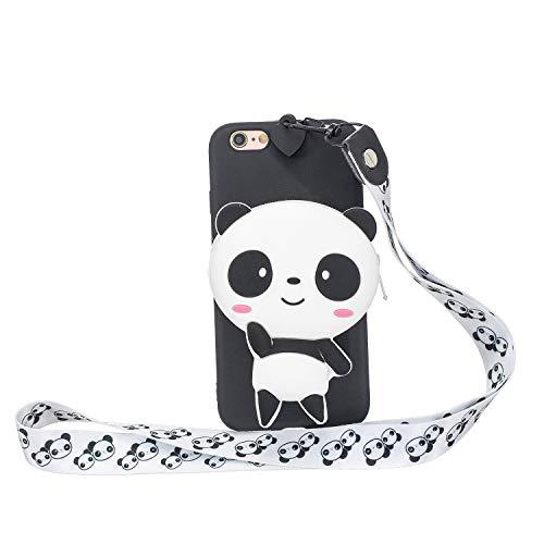 Miagon Silikon Hülle für iPhone 8/7,3D Süß Brieftasche Lager Tasche Design mit Halskette Kordel Schnur Handykette Necklace Band,Panda