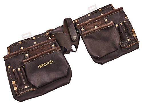 Am-Tech 12 Pocket Heavy Duty Leather Tool Pouch, N1045 (Tool Leather Heavy Duty)