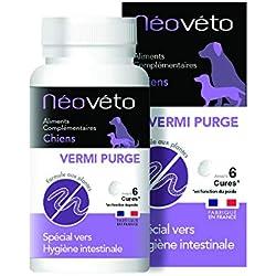 Néovéto VERMIPURGE comprimés naturels à Base d'Actifs agréés par Les Services Vétérinaires Français, fabriqué en France, pour Chiens, Deworming Dog, Anti Dog Worms