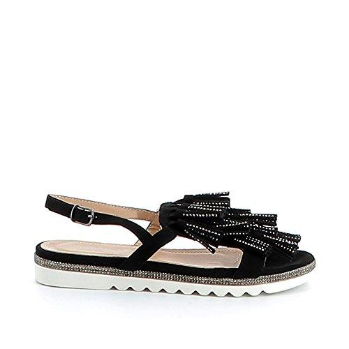 Nu-pieds à pompons strassés Noir
