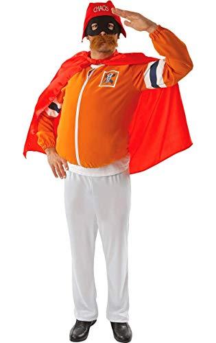 Herren Erwachsene Captain Chaos Orange Superheld Victor (Superhelden Alter Ego Kostüm)