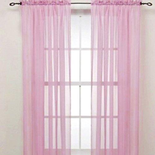 Display08 - tenda velata con mantovana, in vetro filato, decorazione per la casa, per camere da letto o per matrimoni, dal colore puro, dimensioni da appesa: 100 x 200 cm, colore: rosa