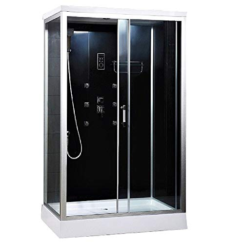 Home Deluxe - Duschkabine mit Schiebetür - Wave XL - Maße: 120 x 80 x 227 cm - inkl. komplettem Zubehör