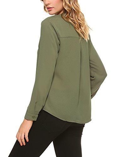 iClosam Damen Bluse Business Chiffon Langarm Oberteile Elegante mit V-Ausschnitt. Grün