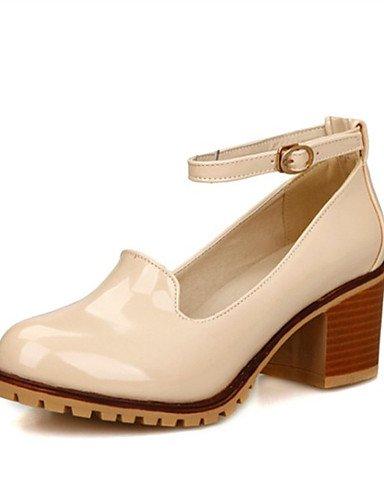 WSS 2016 chaussures en cuir de brevet talons talon chunky talons mariage / fête des femmes&soirée / robe / noir / blanc occasionnel white-us5.5 / eu36 / uk3.5 / cn35