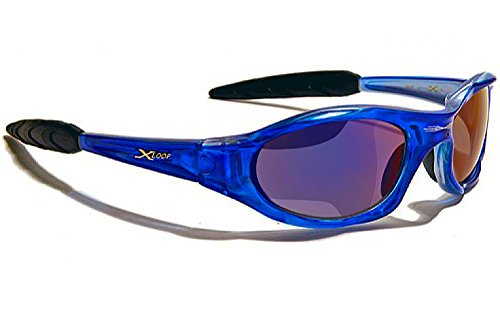 X-Loop Lunettes de Soleil - Sport - Cyclisme - Ski - Tennis - Moto - Plage / Mod. 010P Bleu Translucide Ice Blue Iridium