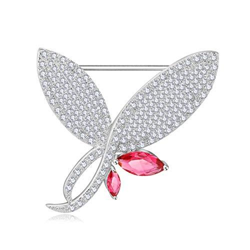 Beydodo Broschen und Anstecknadeln Schmuck Schmetterling Rot Zirkonia Damen Brosche Weihnachten