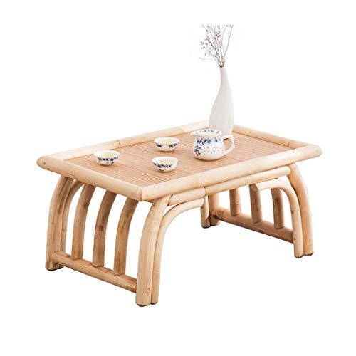 Balkon Bucht Fenster Tisch Home Kleine Couchtisch Freizeit Kung Fu Teetisch Bambus Rattan Holz Tatami Tisch Schlafzimmer Bett Computer Tisch (Color : Wood Color, Size : 60 * 40 * 30CM) - Schlafzimmer-rattan-tisch