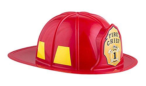 erdbeerclown - Feuerwehrhelm Fire Chief - Kinder Erwachsene Feuerwehr Zubehör Helm, Rot (Feuerwehrmann Kostüm Geist)