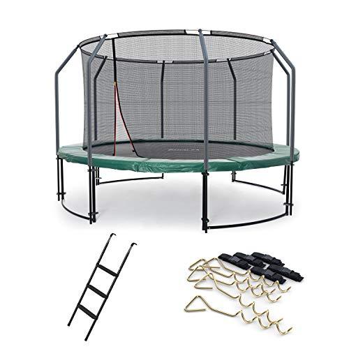 Ampel 24 Deluxe Outdoor Trampolin 366 cm mit innenliegendem Netz, Leiter & Windsicherung, Belastbarkeit 160 kg, Sicherheitsnetz 8 gepolsterten Stangen