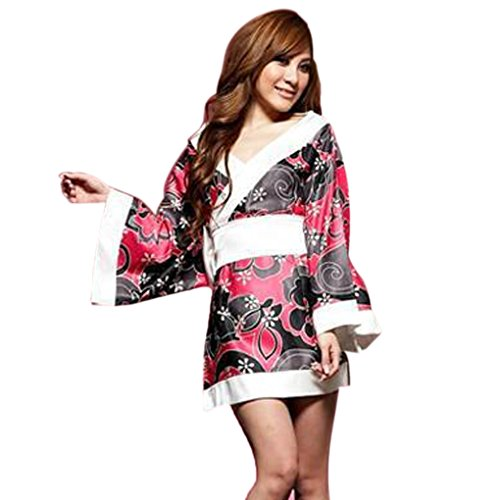 Omkuwl Frauen Dessous Kimono Nachtwäsche Robe Kostüm Nightgown Uniform Pyjamas (Kostüme Knickers)