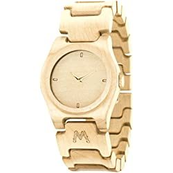 MATOA Moyo - Handmade wooden watch from reclaimed Canadian Maple wood | Unisex woodwatch for men & women | Special giftbox from Mahogany wood