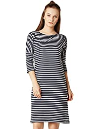 Miss Chase Women's Navy Blue And White Striped Mini Shift Dress