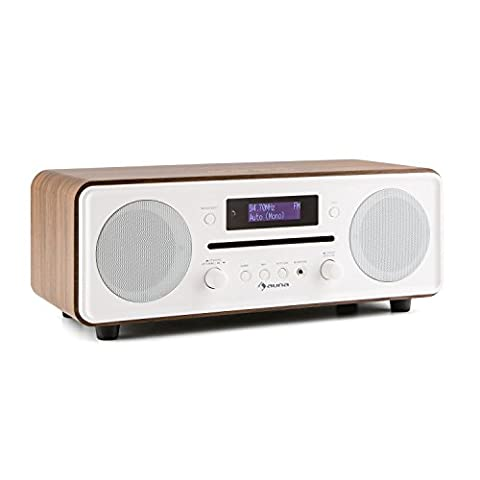 auna Melodia Radiowecker DAB+ Radio (MP3-CD-Player, Bluetooth, Dual Alarm, Snooze, Fernbedienung, Holz-Optik) walnuss