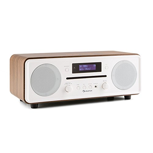 dual stereoanlage mit plattenspieler auna Melodia • Radiowecker • DAB+ Radio • MP3-fähiger CD-Player • Bluetooth • DAB+ / UKW-Tuner • Dual Alarm • Snooze • Fernbedienung • braun