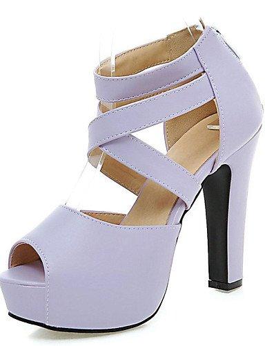 LFNLYX Chaussures Femme-Habillé / Soirée & Evénement-Noir / Rose / Violet / Beige-Gros Talon-A Plateau / Bout Ouvert-Sandales-Similicuir Black