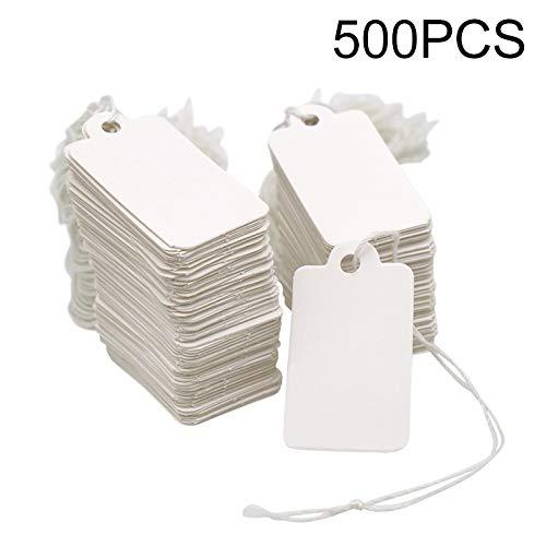 500 pezzi etichette del prezzo, etichette bianche con stringa, 4.5 cm*2.5 cm cartellini da appendere