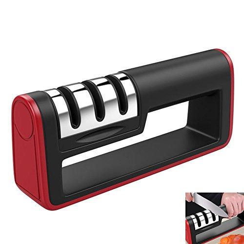 Küchen 3-Stufen Messerschärfer, Heimgebrauch Kochen Besteck Manuelles Schärfen Werkzeug/Diamant-Stein Handheld Schleifstein für Stahl Gerade und Gezackte Messer Reparieren