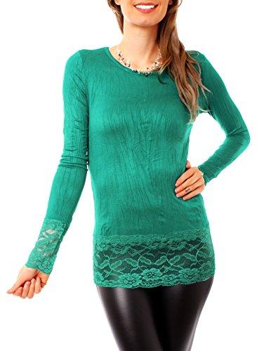Damen Shirt Lang Spitze T-Shirt Longshirt Spitzenshirt Lingerie Spitzentop Wäscheshirt Lace Top Oberteil Einfarbig Uni Rundhals Gr Grün Teal Blue S/M - 36/38 (Top Teal Lace)