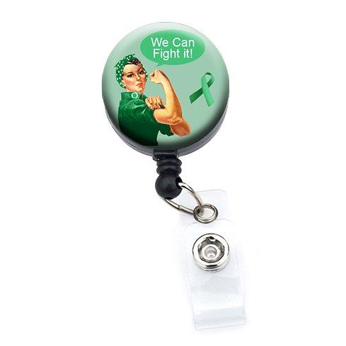 Rosie The Riveter Bewusstsein, Bänder, können wir Fight ES Retractable Badge Reel Slide Clip Green Ribbon Rosie -