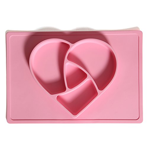 NUUR 100% LFGB Lebensmittelqualität Silikon Material ungiftig Baby Tischset Herzförmige geformt Essen Platte für Kinder Pink