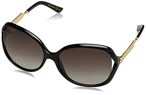 Gucci Damen GG0076S 002 Sonnenbrille, Schwarz (Black/Grey), 60