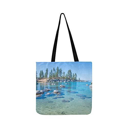 Schöne blaue klare Wasser am Ufer Leinwand Tote Handtasche Schultertasche Crossbody Taschen Geldbörsen für Männer und Frauen Einkaufstasche -