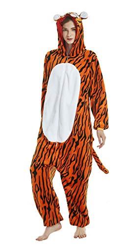 Onesie pigiama animale, adulto unisex pigiama cosplay costume cartone animato homewear indumenti da notte quotidiani (tigre, xl)