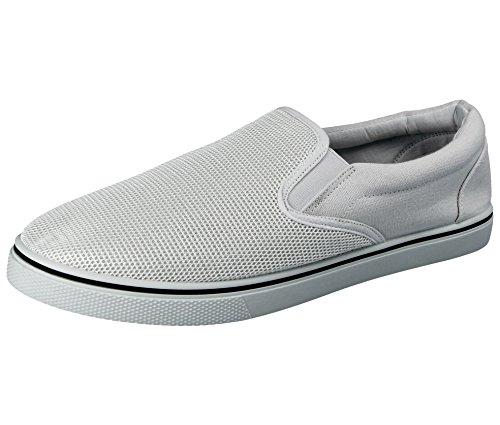 Canvas-Slipper für Herren, Stil: Sportlich - Casual, Größe: 41 - 47, - weiß/weiß - Größe: 42.5