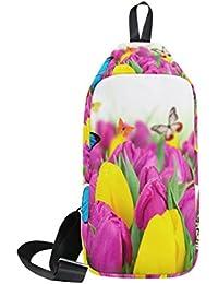 36efc92e2bfa4 COOSUN Tulpen und Schmetterlinge Sling Bag Schulter Brust Kreuz Körper  Rucksack Leicht Casual Tagesrucksack für Männer…