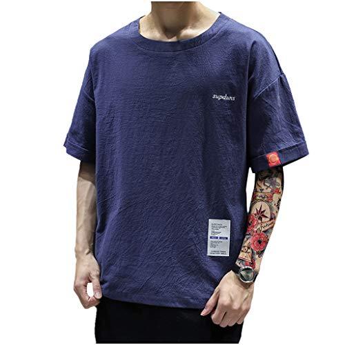 KUKICAT Kurzarm Herren Sommer Casual Fashion Patchwork Tasche O-Ausschnitt Kurzarm T-Shirt Top