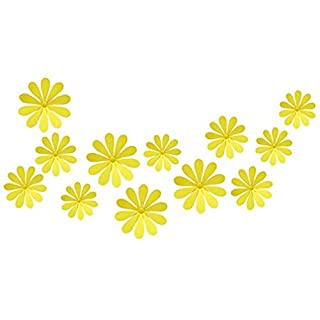 ALCYONEUS 12 Pcs Mixed Sizes DIY Home Decoration TV Wall Stickers Mirror 3D Flower Shape (Yellow)