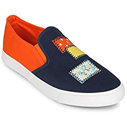 Scantia Stylish & Comfortable Casual Slip On Shoes For Women ( Colour : Blue-Orange )