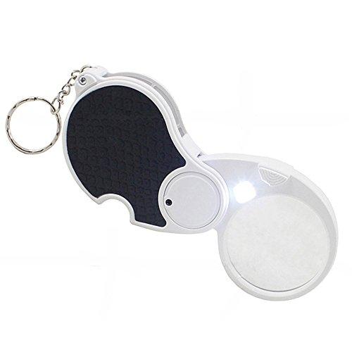 CPDZ Faltende Lupe Glas Konvexe Linse Alten Mann Lesen Objektiv Schlüsselanhänger Lupe 5X Optische Glaslinse Weiß Größe 138 * 84 * 14mm