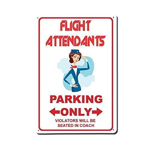 SIGNS Schilder für Flugbegleiter, nur Parkplätze, lustiges Aluminium, 20,3 x 30,5 ()