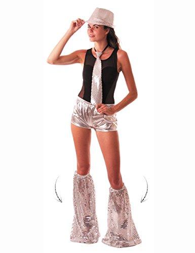 Stulpen Kostüm Silber - KULTFAKTOR GmbH Disco Beinstulpen mit Pailletten für Erwachsene Silber Einheitsgröße