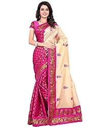 BuyOnn Party Wear Saree For Women's Raw Silk Embroidered Pink Bhagalpuri Latest Designer Saree With Blouse Piece